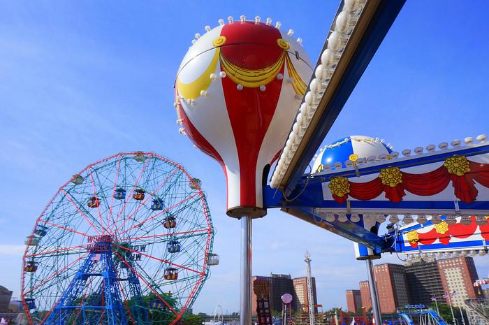 Fun rides in Coney Island, New York.