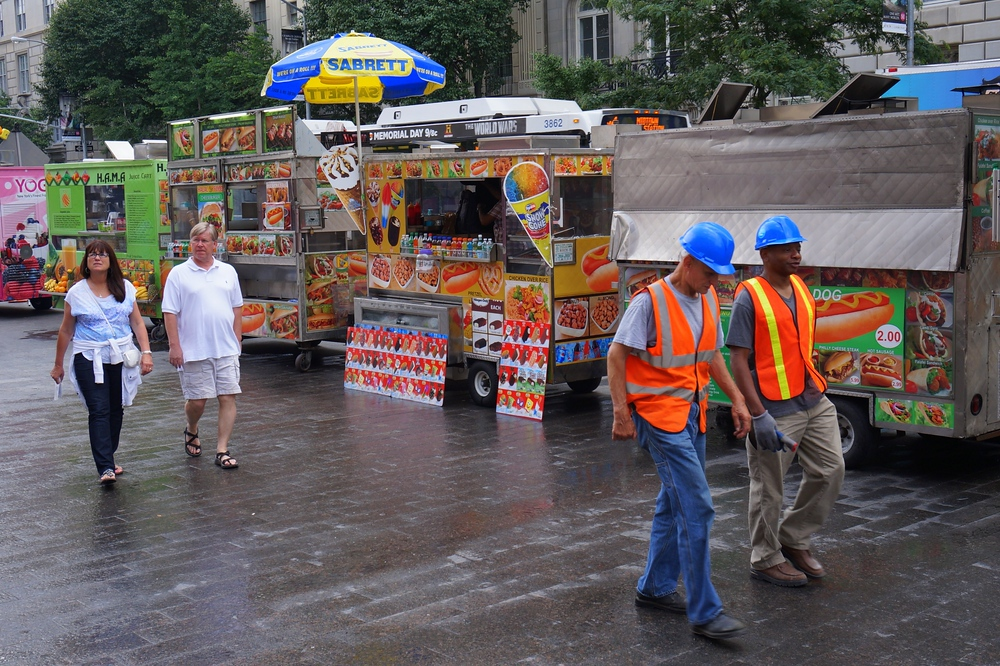 Street food vendors outside of the MET Museum in New York City