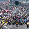 The pits and the stands were crowded as qualifying began.