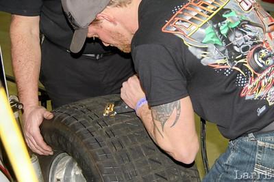 he's grooving the tires for better bite