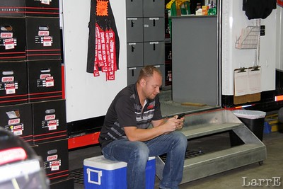 Aaron is checking his shipments from the Simpson trailor