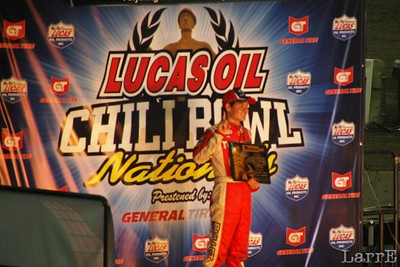 Kyle Larson in Victory Lane after Tuesdays race