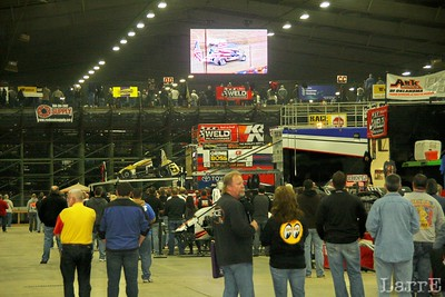 the TV is hung on the back of the grandstand for the pits to see whats going on....this is the best seat in the house.