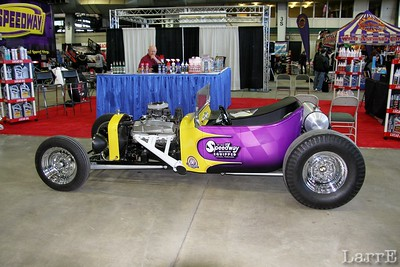 a hot rod on display