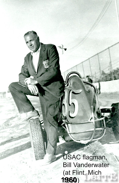 USAC Official flagman Bill Vanewater, at Flint Mich Jun 1960