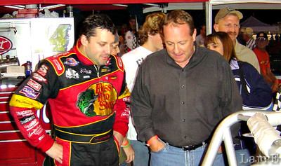 """After only a fair qualifying time Kenny Schrader came up to Tony Stewart and said """"I could'a done that."""" Tony Said, """"Be my guest!"""""""