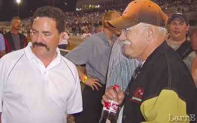 straight line racer Cory Kruzman talks with Tony Stewarts father.