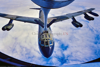 B-52D 002 A flying Boeing B-52D Stratofortress, USAF strategic long range bomber in SE Asia Vietnam War color scheme, doing air-to-air refueling, 7-1980 military airplane picture by Stephen W  D  Wolf   EEE_8825   Dt