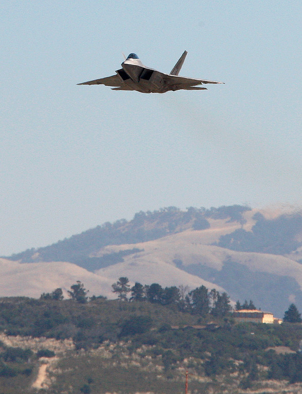 . A USAF F-22 Raptor jet arrives at the Monterey Regional Airport on Tuesday, Sept. 26, 2017.  The two F-22 Raptor\'s were in town to appear at the California Airshow Salinas this weekend.  (Vern Fisher - Monterey Herald)