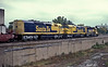 A southbound stack train with SD40-2 5159, SDF45 5964 and SDF40-2 5258 passes Joliet on 14 October 1994