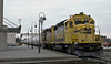 Santa Fe GP39-2 3678 and 3671 pass through Joliet on 14 October 1994