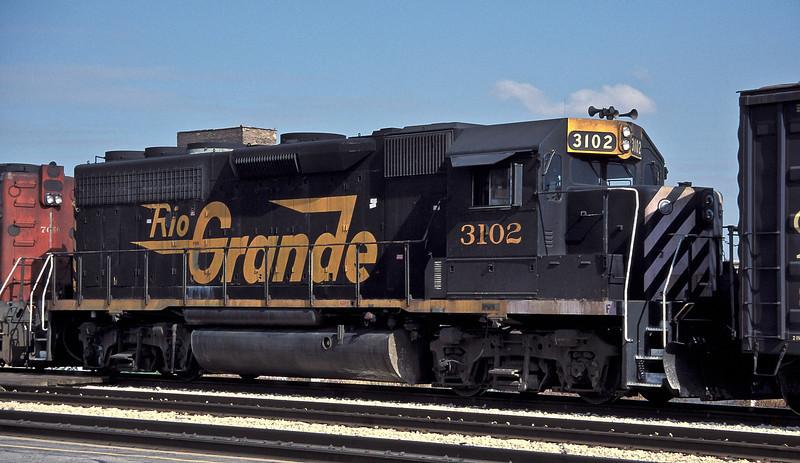 Denver and Rio Grande Western GP40-2 3102  Joliet 14 October 1994