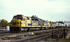 Three Santa Fe cowl units head toward Chicago at Joliet on 13 October 1994. SDF40-2 5261 leads SDF45 5965 and SDF40-2 5252