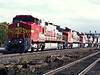 C44-9W 612 and 600 plus C40-8W 914, 927 and 802 ensure plenty of power on another intermodal service heading toward Chicago at Joliet on 14 October 1994