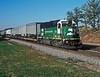 Burlington Northern GP50 heads toward Chicago at Lisle with a train of parcels trailers on 12 October 1994