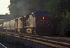 Early on the morning of 8 July 1998 Canadian National C44-9WL 2556 and C40-8M 2409 blast their way through Rochelle