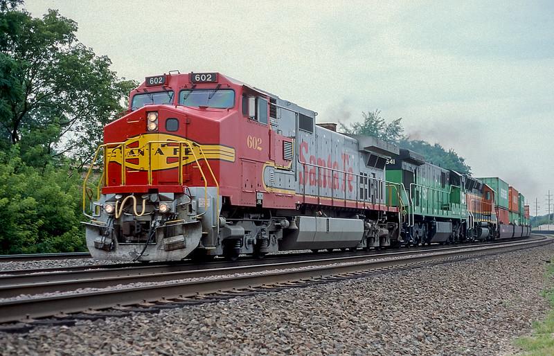 ATSF 602 + BN 5541 + BNSF 3030 Lisle 30 July 1998