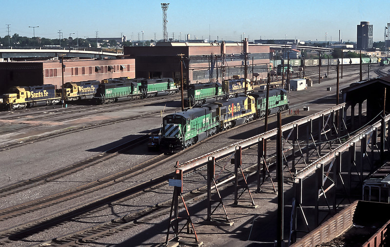 The BNSF Denver locomotive facility is pictured on 18 July 1998
