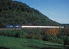 Conrail SD60I 5544 (the prototype unit with an isolated cab) and C40-8W 6109 haul the Triple Crown roadrailer up towards Horseshoe Curve on 30 September 1994