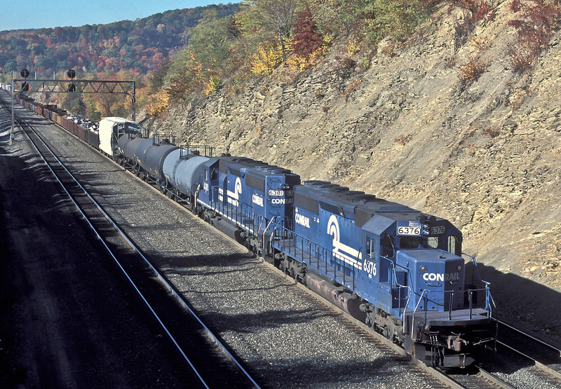 Conrail SD40-2 6381 and 6376 push another freight up the hill at Altoona on 17 October 1994