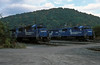 The yard at West Brownsville on 4 October 1994 has Conrail locos 6776, 6965, 6824 and 6998 at the head of the coal trains