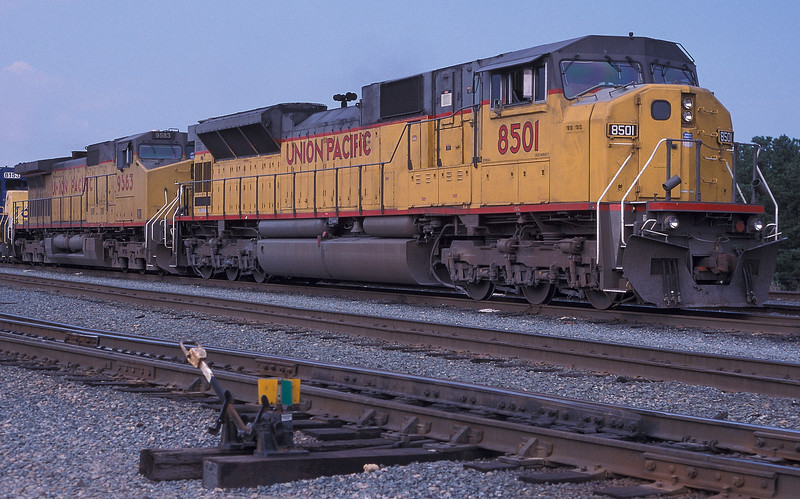 Visiting Union Pacific power at Hamlet yard on 6 October 2002 as SD90MAC 8501 and C42-8W 9583 wait for a return service