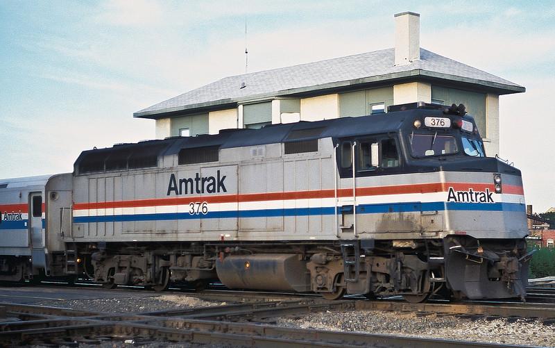 Amtrak F40PH 376 at Joliet on 12 October 1994