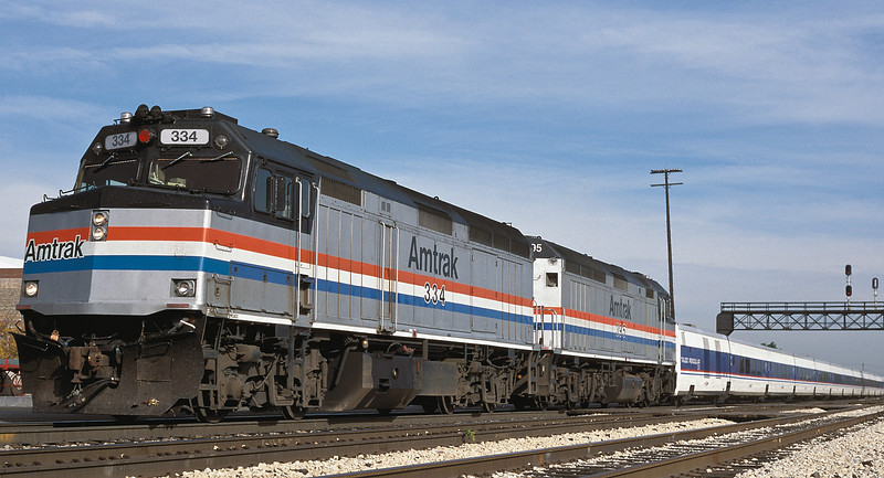 Amtrak F40PH 334 and 395 at Joliet on 13 October 1994 with Talgo stock from the North West which was on a demonstration tour around the Chicago area