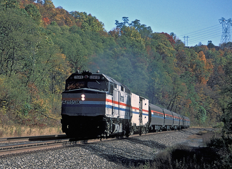 Amtrak F40PH 349 at Petersburg with the westbound 'Pennsylvanian' on 17 October 1994