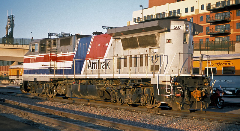 Amtrak B32-8HDM 507 sits in the evening sun at Denver Union Station on 17 July 1998