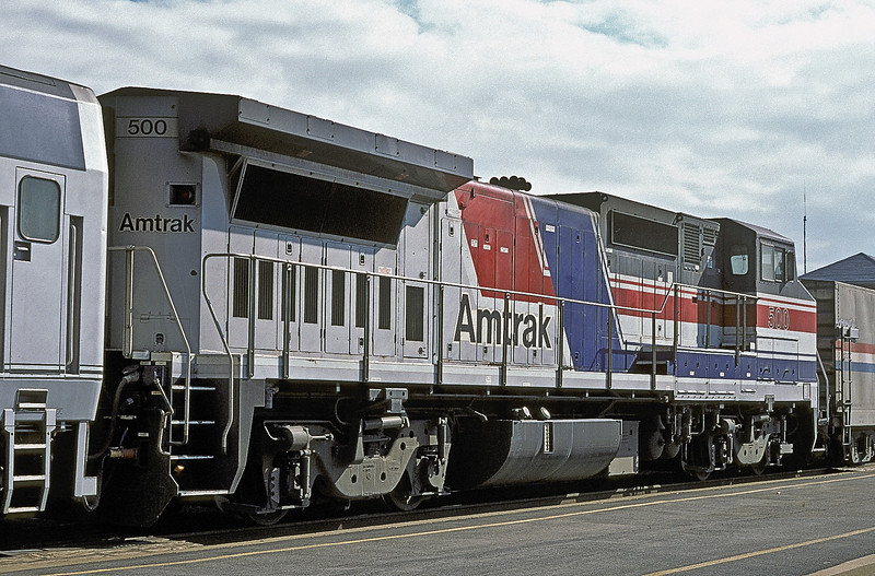 Amtrak B32-8HDM 500 in the so-called 'pepsi can' livery at Joliet on 14 October 1994