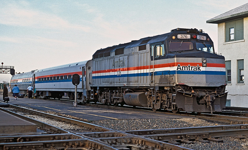 Amtrak F40PH 376 at Joliet on 12 October 1994 pushes its service toward Chicago