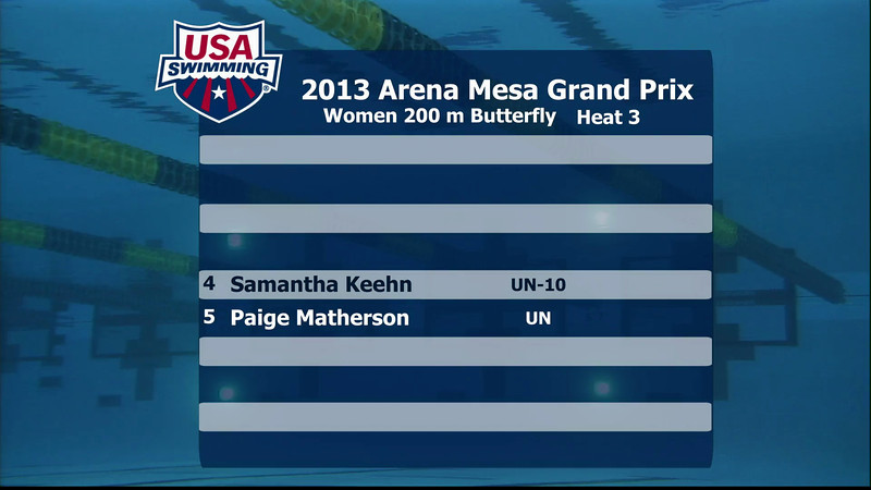 Women's 200m Butterfly C Final - 2013 Arena Mesa Grand Prix