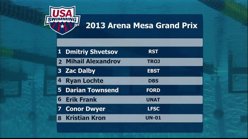 Men's 200m Individual Medley A Final - 2013 Arena Mesa Grand Prix