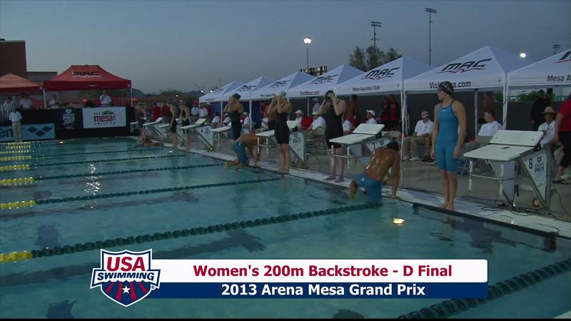 Women's 200m Backstroke D Final - 2013 Arena Mesa Grand Prix