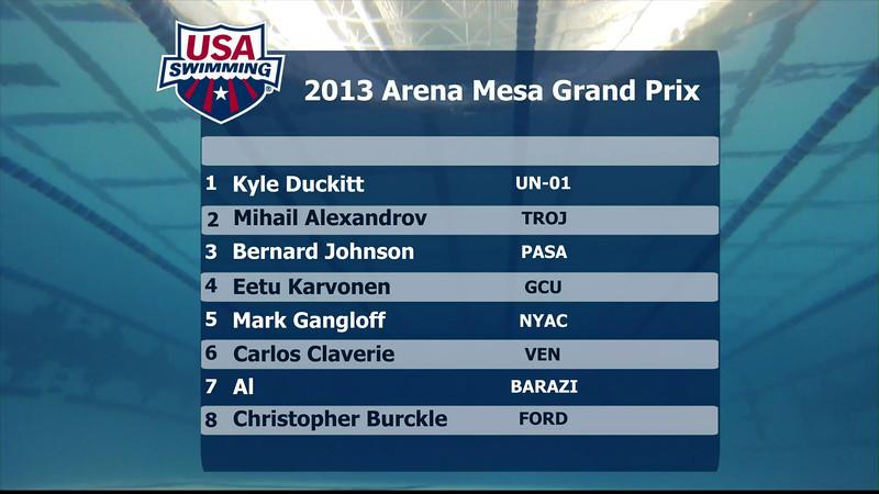 Men's 100m Butterfly A Final - 2013 Arena Mesa Grand Prix