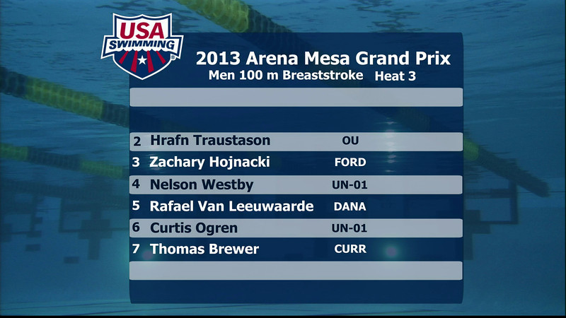 Men's 100m Butterfly C Final - 2013 Arena Mesa Grand Prix