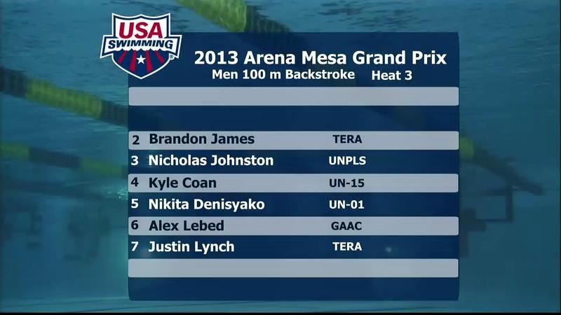 Men's 100m Backstroke C Final - 2013 Arena Mesa Grand Prix