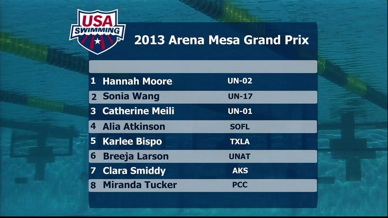 Women's 200m Individual Medley B Final - 2013 Arena Mesa Grand Prix