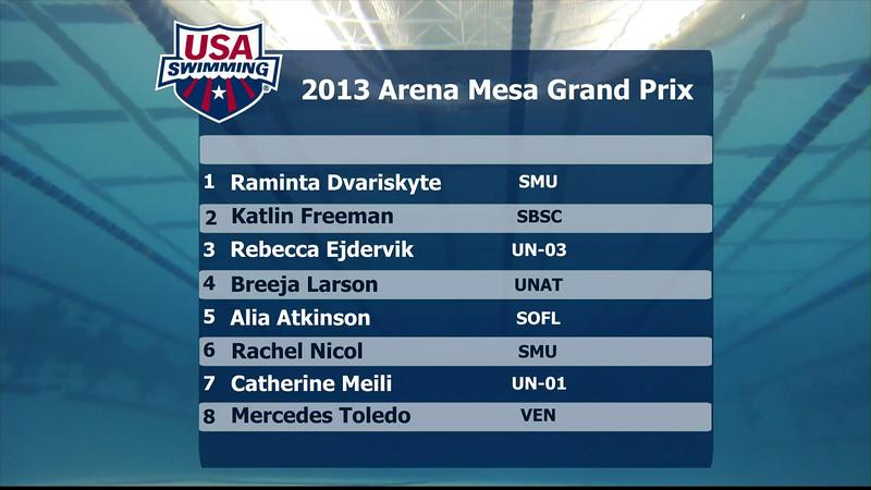 Woen's 100m Breaststroke A Final - 2013 Arena Mesa Grand Prix