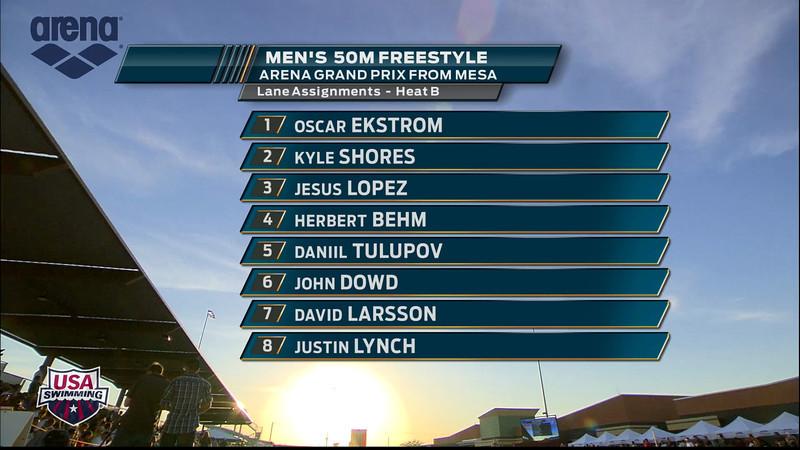Men's 50m Freestyle B Final - 2013 Arena Mesa Grand Prix