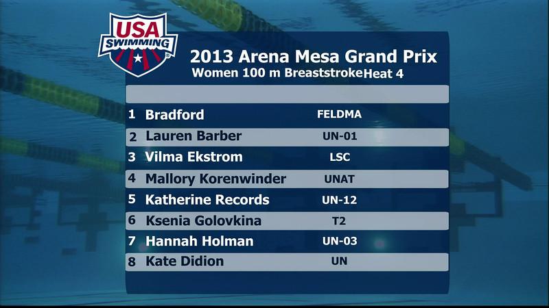 Woen's 100m Breaststroke C Final - 2013 Arena Mesa Grand Prix