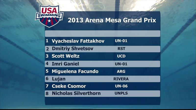 Men's 100m Butterfly B Final - 2013 Arena Mesa Grand Prix