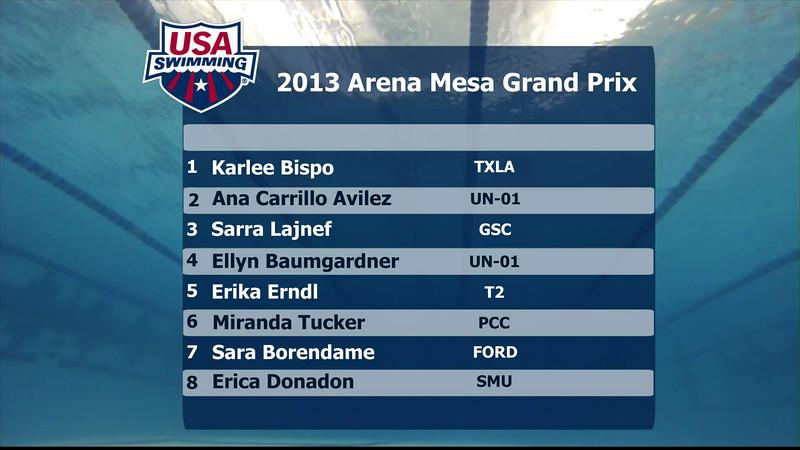Woen's 100m Breaststroke B Final - 2013 Arena Mesa Grand Prix