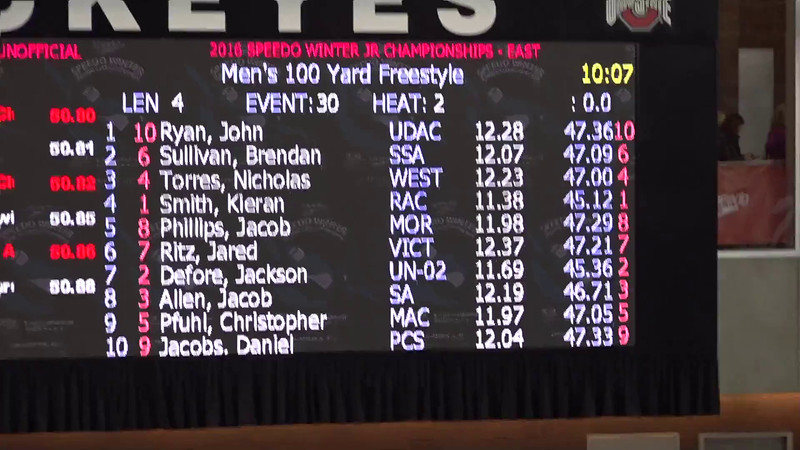 Heat 3 | #30 Men 100 Free | 2016 SPEEDO WINTER JR. CHAMPIONSHIPS EAST | VIDEO