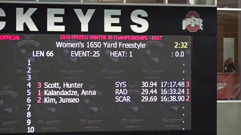 Heat 2 | #26 Men 1650 Free | 2016 SPEEDO WINTER JR. CHAMPIONSHIPS EAST | VIDEO