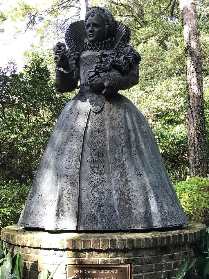 Elizabethan Gardens.  The world's only  life-size statue of Queen Elizabeth I.  Roanoke Island, Manteo