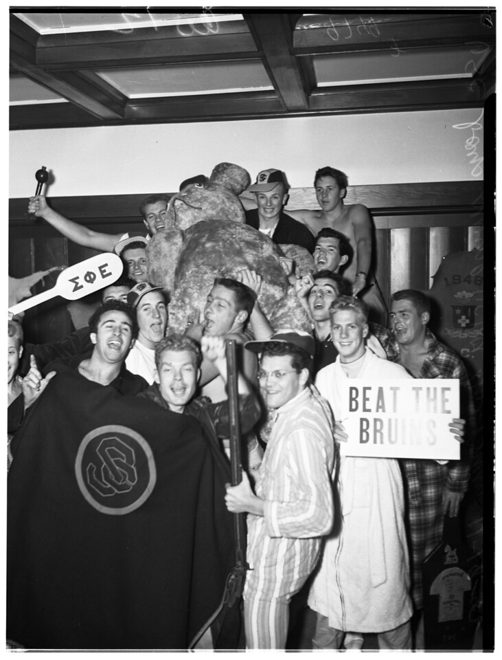 University of Southern California swipe big teddy bear from University of California, Los Angeles, 1952