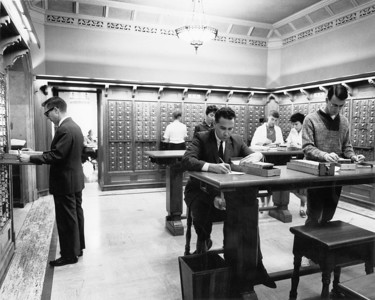 Students in the catalog room in Doheny Memorial Library, ca.1950s