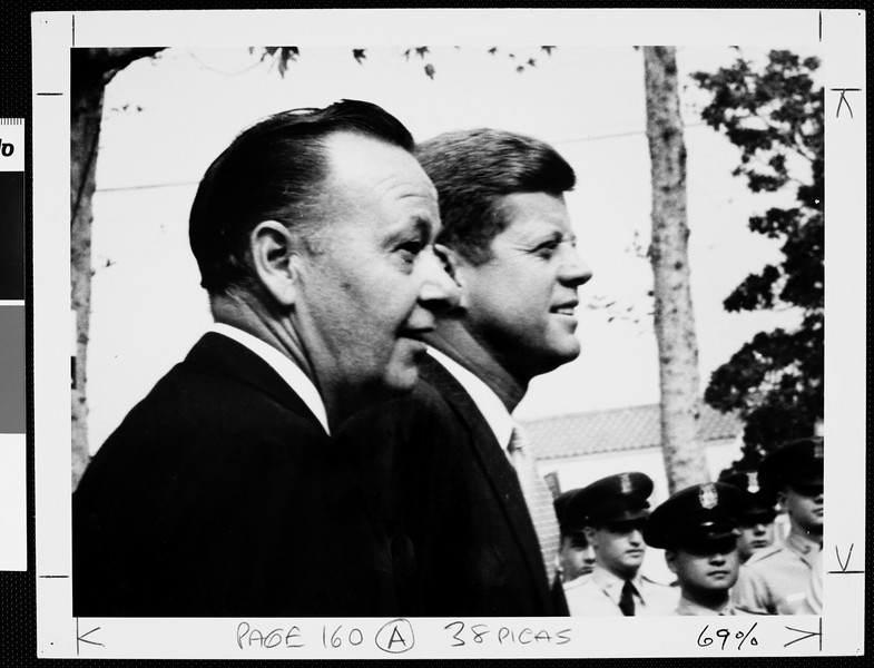 J.F. Kennedy and the USC President Norman Topping during the USC's First Time Voter Convocation, 1960